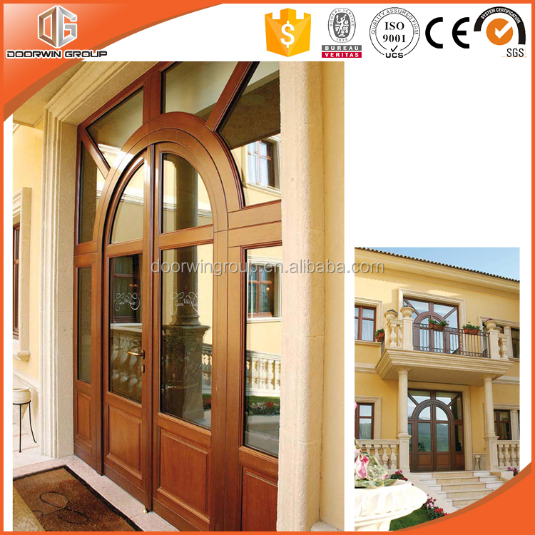 Modern High Quality Teak Wood Main Door with Grille Design North America Exterior Hinged Door