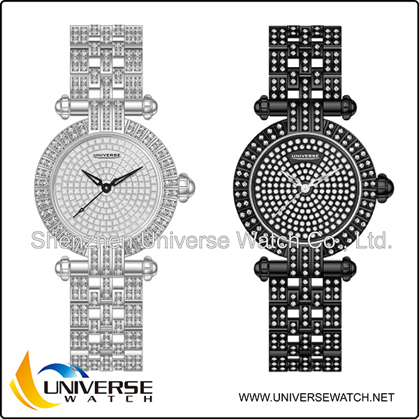 New listing exquisite brass watch with diamond set UN5153L-4