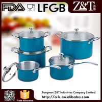 New product 10pcs blue aluminum cookware set with glass lids