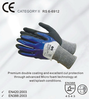 RS SAFETY 13G softtextile knit glove in firm grip micro nitrile coated Cut resistant gloves level 5