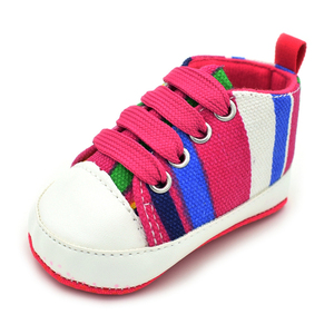 Anti-Slip First Walkers Shoes New born Baby Boys' Premium Soft Sole Infant Prewalker Toddler Stripe Canvas Sneaker Shoes