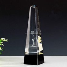 Crystal Pyramid Trophy, 3D laser Engraving Logo Optical Glass Trophy