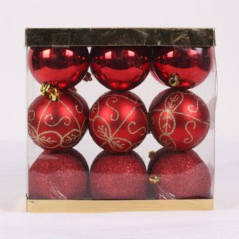 Decorative plastic painted hanging christmas ball set