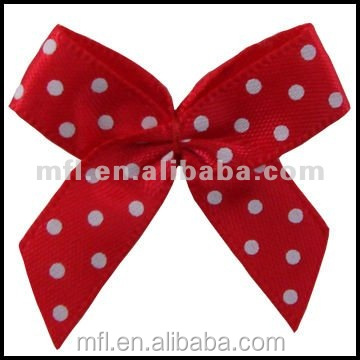 Printed Grosgrain Ribbon Bows White Dots Bows for ladies dress decoration