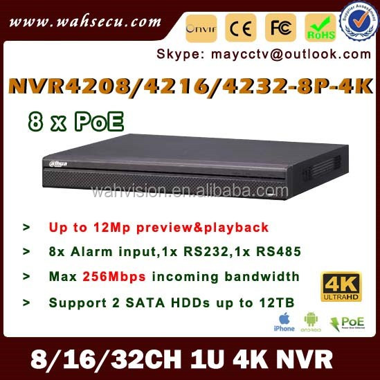 H265 8Channel PoE HD 4K Ultra NVR dahua NVR4208-8P-4K h 264 dvr admin password reset