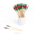 colorful decorative bamboo cutlery food skewers bamboo picks with special bead