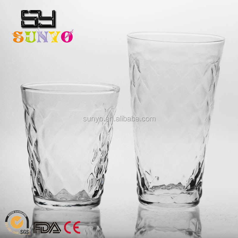 Handmade DOF embossed drinking water glass set manufacturing wedding favors home decoration