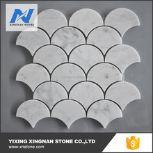 Carrara white Grand Fish Scale Fan Shaped Mosaic Tile Polished - Marble from Italy