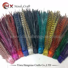 Factory wholesale dyed carnival indian artificial cheap ringneck pheasant feathers