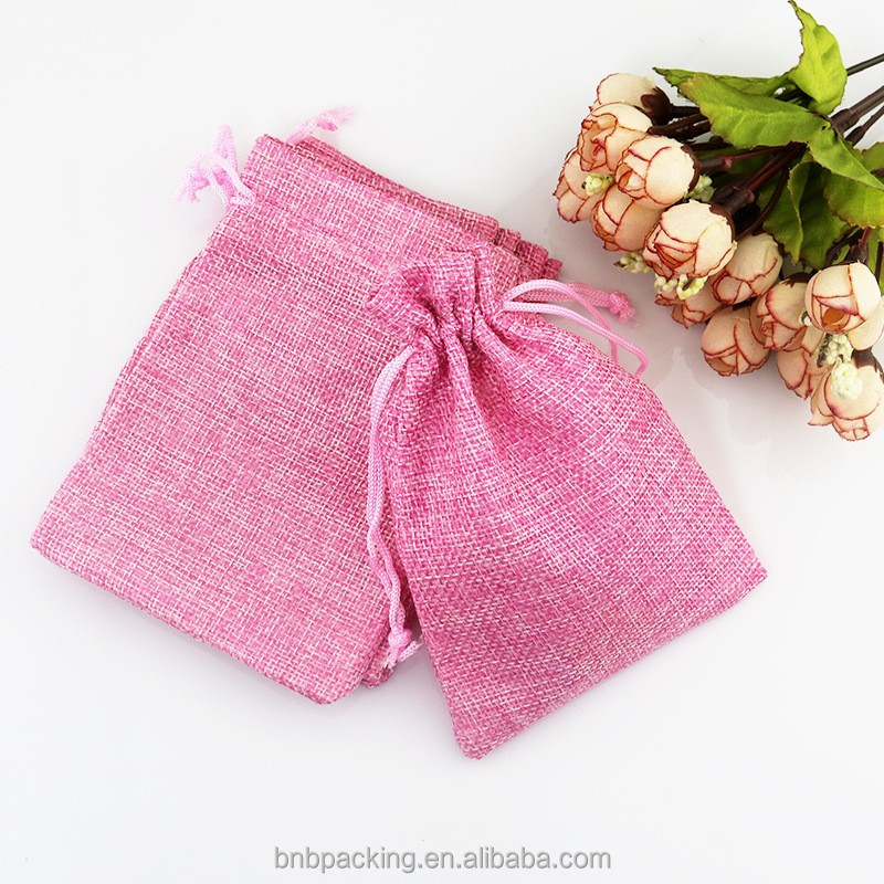 Low MOQ 300pcs Colored Small Textile Gift Bags Burlap Jute Pouches for Wedding Party Birthday Favor Packaging