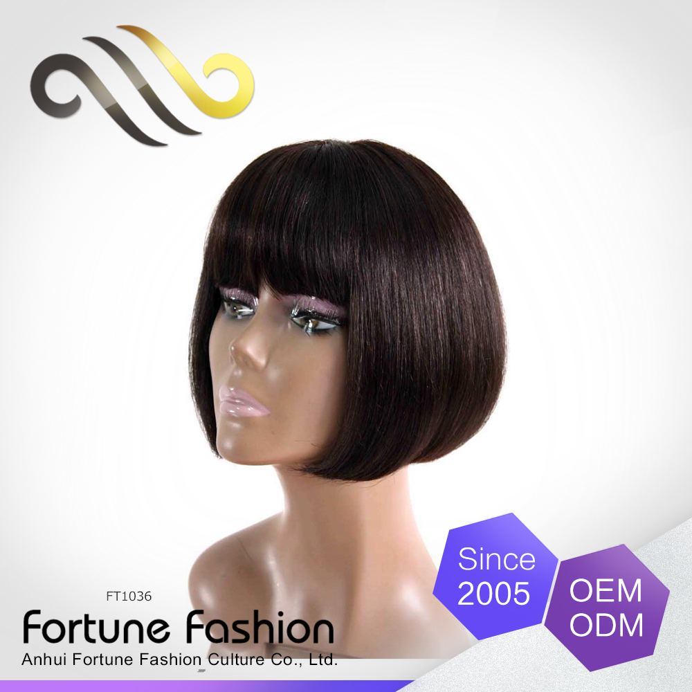 Short hair non lace wig human hair full bang bob straight wigs