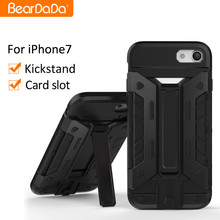 Anti shock kickstand card slide phone case for iphone 7