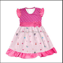 Flower children baby clothes 2016 cheap summer polka dot casual sleeveless latest party wear flower girl dresses for 3-11 years