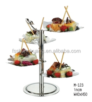 Hot Sale Stainless Steel Four Tiered Glass Cake Stand For Wedding Party