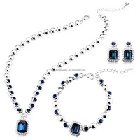 Blue River Love! T400 gold plated Jewelry Set made with Swarovski Elements Crystal Necklace/Earring/Bracelet #S007