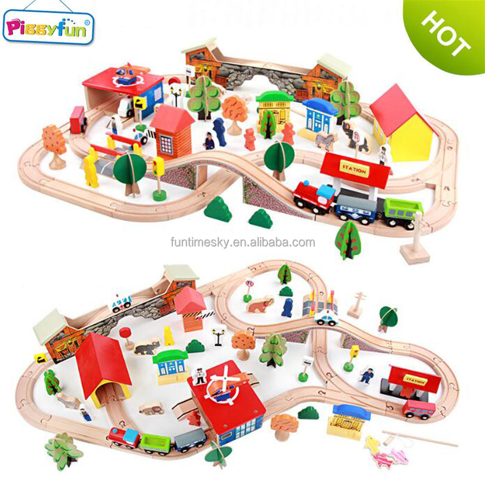 New product 89piece Railway <strong>Toys</strong> Wooden Train Set <strong>Toy</strong> for Kids AT11160