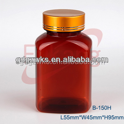 5oz Square PET Medicine Brown Plastic Bottles with Gold Lids Manufacturer