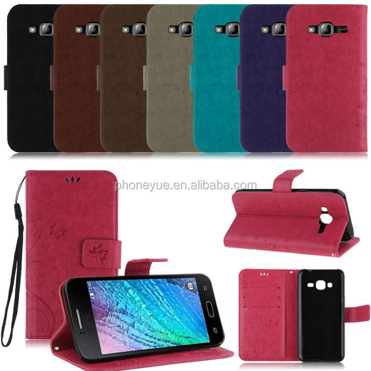butterfly stand holder matte back cover pu leather case for samsung j1/j1 ace/s3 mini