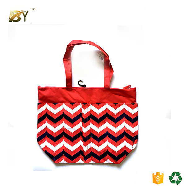 Custom stripe 600D polyester beach tote bag wholesale for ladies