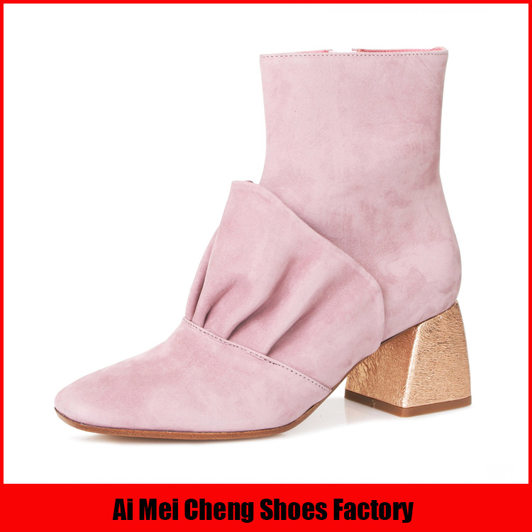 Sexy New Models fashionable wholesale block heel leather ankle women boot
