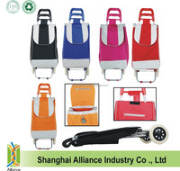 Lightweight Wheeled Foldable Assorted Colors Shopping Trolley Bag with Custom Logo Printed