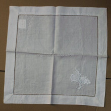 white ramie napkins with hemstitch and grape embroideried