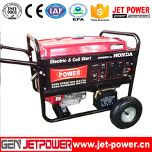6.5kva Honda motor gasoline generator with electric start and wheel kit for sale