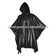 Black PVC Rain Poncho with logo printing for promotion