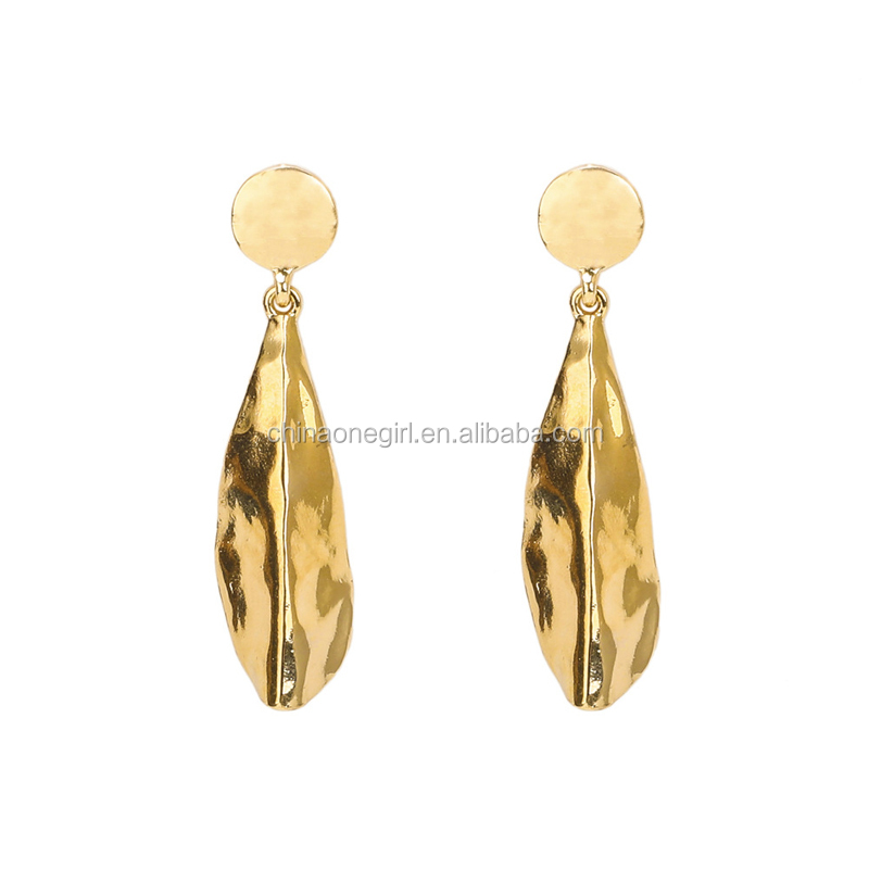 <strong>18</strong> <strong>K</strong> Gold Hammered Metal Leaf Drop Earring Fashion Women Jewelry