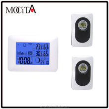 Digital weather station table clock Wireless weather station clock with 2 Remote Sensors