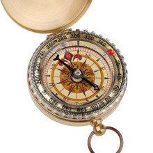 New Arrival Outdoor Camping Hiking Portable Brass Pocket Golden Compass Navigation