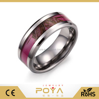 POYA Jewelry 8MM Women' & Men's Hunting Camouflage Tungsten Wedding Band Pink Camo Ring