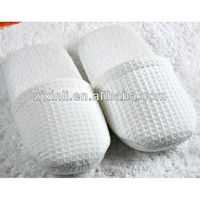 High Quality Waffle Weave & Terry Towel Slipper for Hotel, White & Grey Colors and Washable, X14004