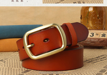 High quality 100% Genuine Leather belt with gold buckle for man belt