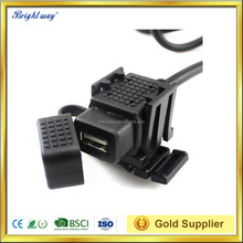 Waterproof Motorcycle USB Charger 12V-24V 2.1A Universal Black Rubber Cap DustProof