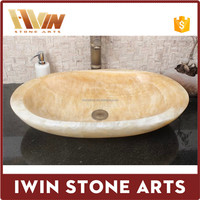 Natural stone sinks wash basins honey yellow onyx wash basins for bathroom use