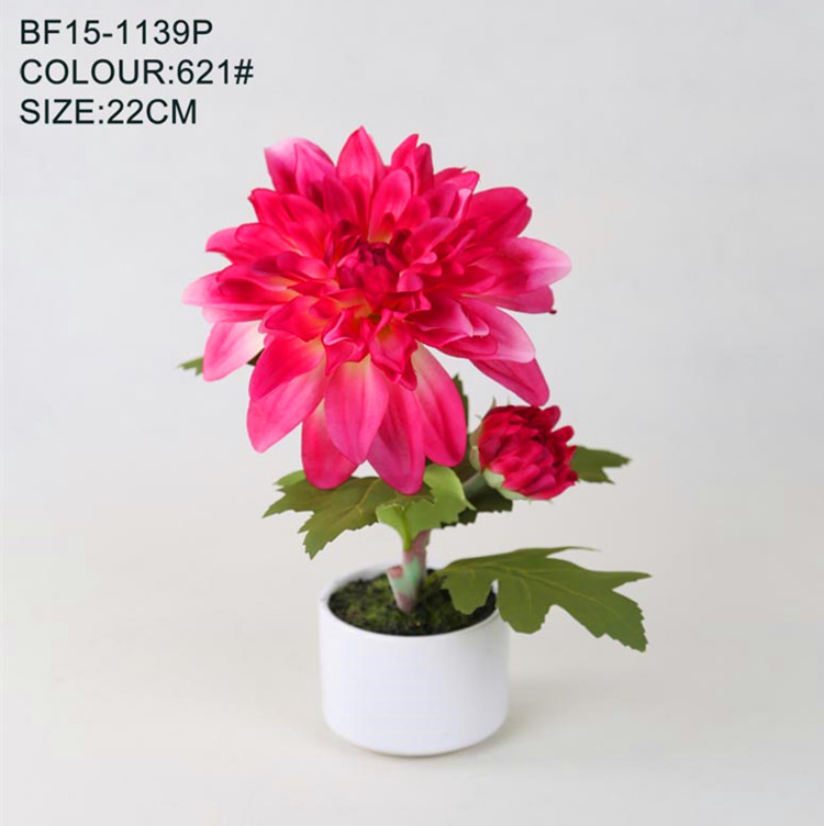 Artificial red blooming dahlia silk flower for opening ceremony