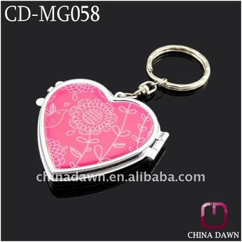 small size compact mirror with keychain CD-MG058