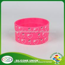 Dancing girl with love heart screen print personalized wristband silicone bracelet