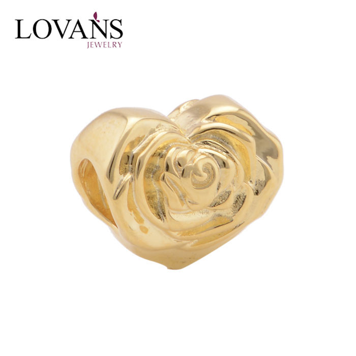 925 Sterling Silver Heart Shape Flower Charms Of Gold Plated Export Necklace Jewelry YZ721
