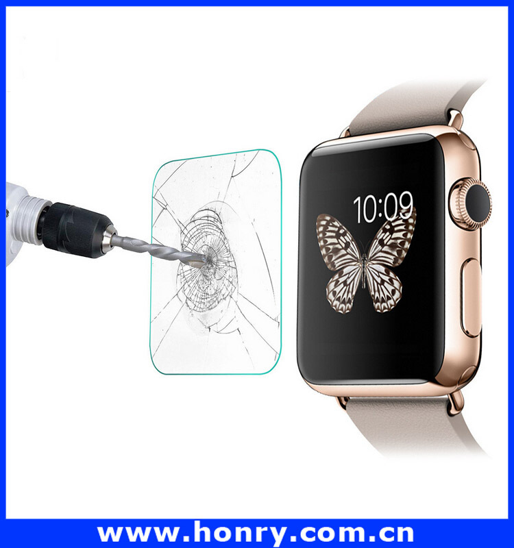 2015 Hot new product 2.5D Mobile Phone 9H tempered glass screen protector for Apple Watch