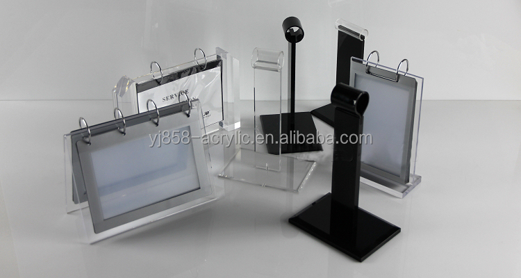 Chic black acrylic material double side flip menu holder