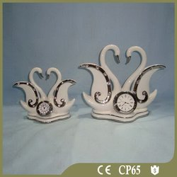 Ceramic home table decoration swan clock