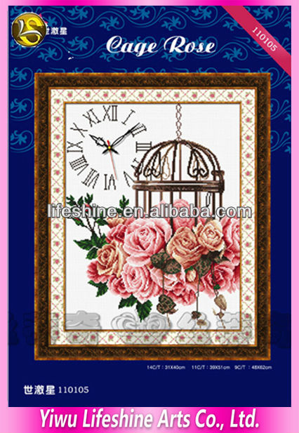 flower embroidery clock kits of hand made fabric wall hangings