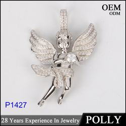 2016 hot selling micro pave setting 925 silver sterling hip hop fashion angel pendant jewellery
