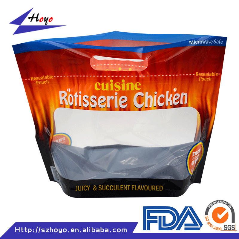 China Supplier Food Industrial Use Laminated Material Zipper Top Roasted Chicken Packaging