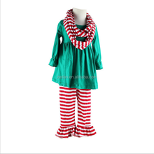 Christmas green longsleeve top with ruffled pants wholesale children outfits stripe scarf kids garment spanish baby clothing