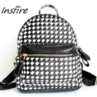 White and black braid backpack lady outdoor smalll back bag pu schood bag