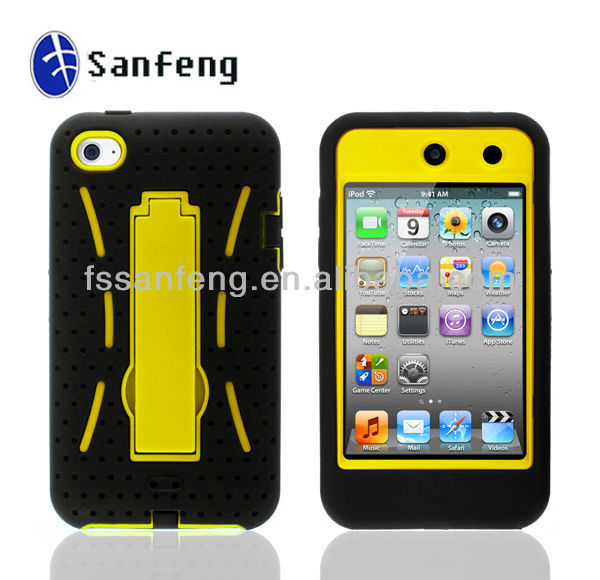 New design stand combo robot phone case for iPhone ipod touch 4