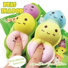 Custom Rare Squishyfun Brand Slow Rising Jumbo Scented Peas In A Pod Beans Kawaii Squishies Wholesale Toys Memory Foam Pill